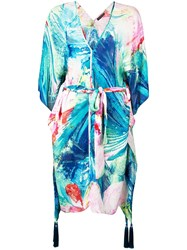 Josie Natori Asymmetric Jungle Print Dress Blue