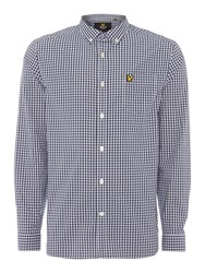 Lyle And Scott Men's Long Sleeve Gingham Check Shirt Navy