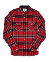 Bellfield Geary Shirt In Check Flannel Red