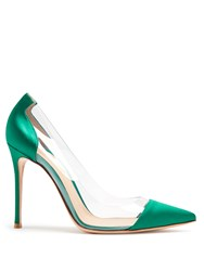 Gianvito Rossi Plexi Satin Pumps Green