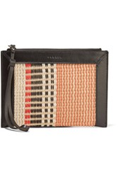 Sandro Textured Leather Trimmed Striped Straw Pouch Brick