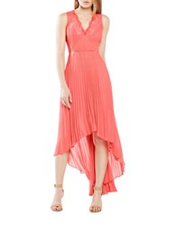 Bcbgmaxazria Lace Trimmed Hi Lo Dress Coral Reef