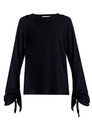 Tibi Tie Sleeve Wool Sweater Navy