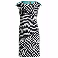 Conquista Fashion Sleeveless Striped Fitted Dress Blue