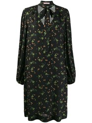Kristina Ti Neck Tie Floral Dress Black