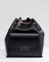 Park Lane Backpack With Chain Straps And Front Pocket Black