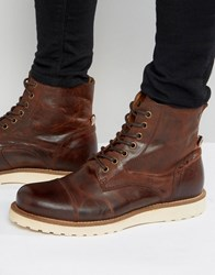 Jack And Jones Martin Lace Up Leather Boots Brown