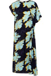 Cedric Charlier Floral Print Washed Silk Dress Blue