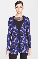 Escada Floral Print Wool And Silk Cardigan Fantasy