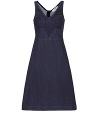 Stella Mccartney Lace Trimmed Denim Dress Blue