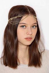 Urban Outfitters Leaf Fringe Goddess Chain Headwrap Gold