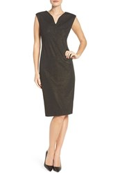 Eci Women's Metallic Ponte Sheath Dress