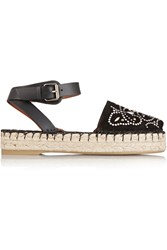 Valentino Studded Suede And Leather Espadrille Sandals Black