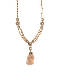 Marchesa Beaded Pendant Necklace Gold