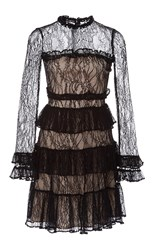 Alexis Sally Tiered Lace Dress Black