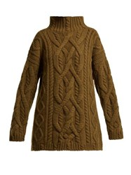 Connolly Cable Knit Wool And Cashmere Blend Sweater Dark Brown