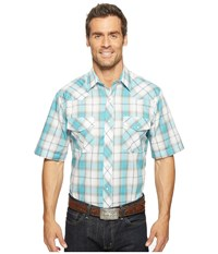 Roper 0918 Turquoise Grey Plaid Blue Men's Clothing