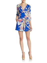 Yumi Kim Liz Floral Print Short Jumpsuit Medium Blue