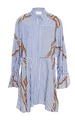 Tanya Taylor Embroidered Menswear Stripe Charlee Dress