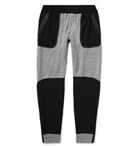 Under Armour Sportswear Shell Panelled Honeycomb Knit Cotton Sweatpants Gray