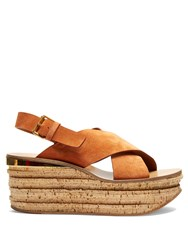 Chloe Camille Suede Wedge Sandals Nude