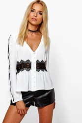 Boohoo Crochet Ladder Trim Button Through Blouse White
