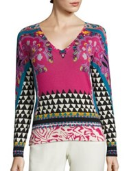 Etro Geo Paisley Print Silk And Cashmere Sweater Pink