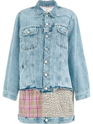 Natasha Zinko Oversized Multi Panel Denim Jacket Blue