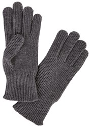 Moncler Grey Ribbed Wool Gloves