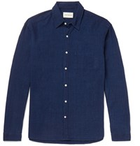 Oliver Spencer New York Slim Fit Spread Collar Cotton Shirt Navy