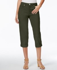 Styleandco. Style And Co. Tummy Control Cuffed Capri Jeans Evening Olive