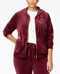 Calvin Klein Plus Size Zip Front Velour Hooded Jacket Fig