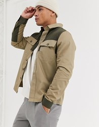 River Island Overshirt In Stone Color Blocking