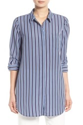 Trouve Stripe Button Front Tunic Shirt Blue