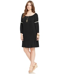 Love Squared Plus Size Bell Sleeve Peasant Shift Dress Black