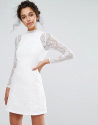 Chi Chi London Lace A Line Mini Dress With Long Sleeves White