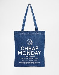 Cheap Monday Oversized Logo Denim Shopper Bag Luv Blue