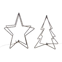 Amara Led Christmas Tree And Star Table Lamps Set Of 2