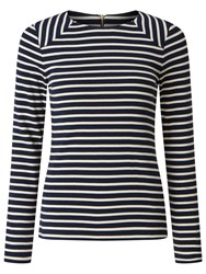 John Lewis Collection Weekend By Zip Back Panel Breton T Shirt Navy White