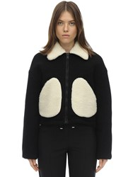 Courreges Short Faux Shearling And Wool Jacket Black