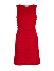Gina Bacconi Crepe De Chine Layered Dress Red