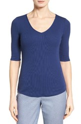 Nordstrom Women's Collection Rib Knit Cotton Blend Top