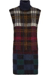 Suno Cutout Plaid Mohair Blend Turtleneck Sweater Multi