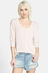 Women's Leith Three Quarter Sleeve V Neck Tee Pink Peach