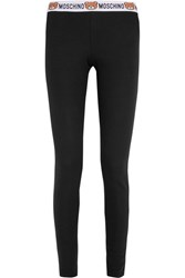 Moschino Ribbed Cotton Jersey Leggings Black