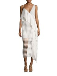 Diane Von Furstenberg Asymmetrical Lace Wrap Dress Ivory
