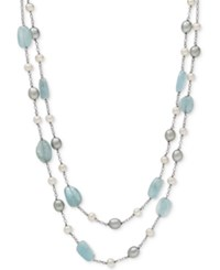 Macy's Milky Aquamarine 6 X 8Mm With White And Gray Cultured Freshwater Pearl 5Mm And 7Mm Layer Necklace In Sterling Silver