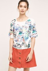 Anthropologie Watercolor Owl Blouse Blue Motif