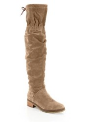 See By Chloe Jona Thigh High Suede Boots Dark Beige