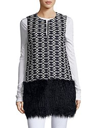 Romeo And Juliet Couture Faux Fur Vest Navy White